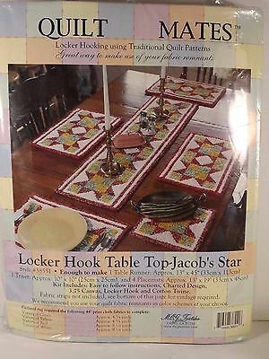 Quilt Mates Locker Hooking Kit Jacobs Star Table Runner Trivet Placemats Sealed