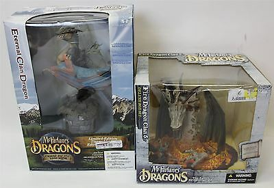 2 x BNIB MCFARLANE'S Limited Edition Eternal Clan Deluxe Fire Dragon Set Figures