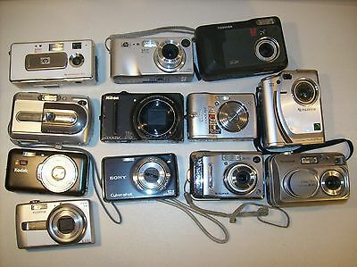 Lot Of 12 Digital Cameras Untested For Parts Or Repair Kodak Fujifilm Nikon Sony