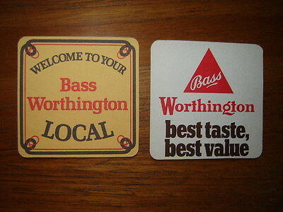 2  Vintage  Bass / Worthington  Brewery  Beer  Mats / Coasters / Sous Bock  New