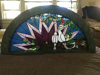 Arts and Crafts Style Stained Glass Window Roycrofter 1995 signed