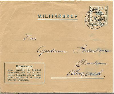 Sweden 1940 used Faltpost military cover