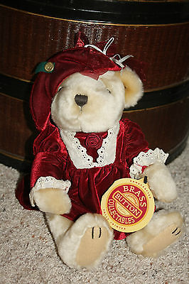 Collectable Plush PICKFORD BEARS PEARL THE BEAR OF WEALTH BRASS BUTTON NWT B3