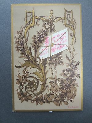 Antique New Year Greetings Card S.J.S & Co Flowers & Envelope Victorian Chromo
