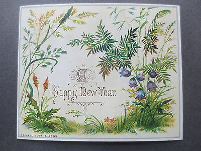 Antique New Year Greetings Card  Raphael Tuck Ferns Harebells Victorian Chromo