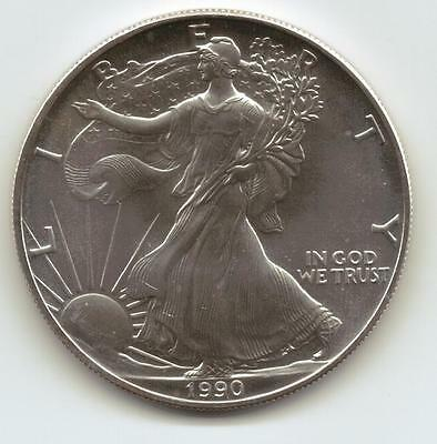 1990  Uncirculated American Silver Eagle  1-Troy oz. .999 Silver. Eagle is White