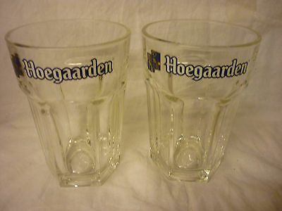 New 2 Hoegaarden Belgian Weissbeer Bar Pint Gov Stamped Glasses Set Of Two.