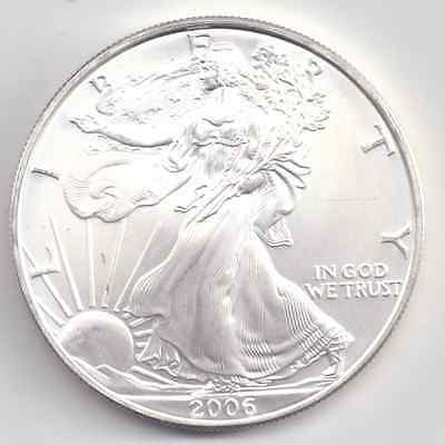 2006  Uncirculated American Silver Eagle  1-Troy oz. .999 Silver. Eagle is White