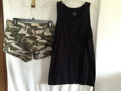 Lot Of Woman's Shorts, Size 13 & Black Tank Top Size Med