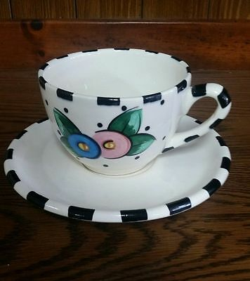 Early Mary Engelbreit ME INK Oversized Soup Cocoa Latte Mug & Underplate NO CHIP