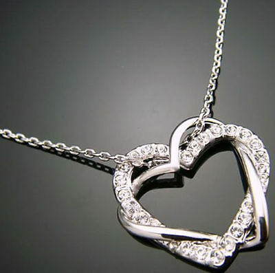 HOT Genuine 18K White Gold Solid  925SILVER Pendant Chain Necklace Fashion Gift