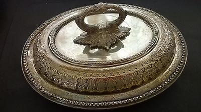 Ornate Antique Victorian Silver Plated Entree Dish with Removable Handle