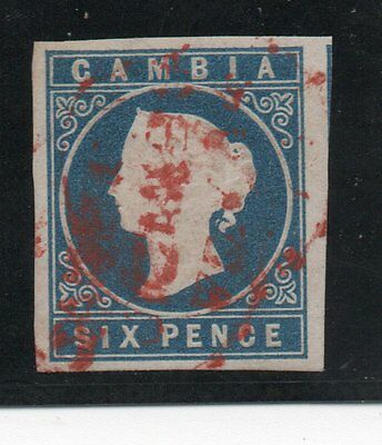 GAMBIA 1869, Sc.2,  6 P. blue, LUXUS, no watermark, red postmark !