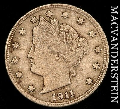 1911 Liberty Nickel- Scarce !! Very Fine+ !!  #u251