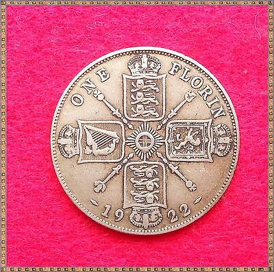 1922 GEORGE V SILVER FLORIN/ TWO SHILLINGS (2/-) COIN. good detail.