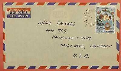1966 Kuwait Mothers Day Issue Single Franked Airmail Cover To Usa