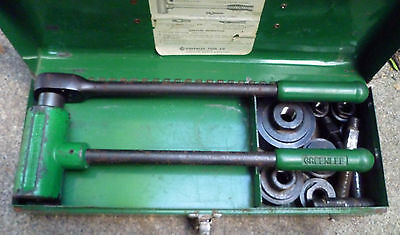 "Greenlee 1804 Ratchet Knock Out Punch Driver 6 Dies 1/2"" to 2"""