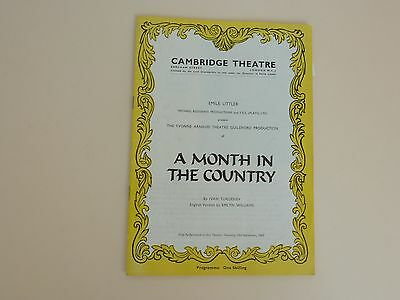 Cambridge Theatre Programme 1965 'A Month in the Country' Ivan Turgenev Emlyn Wi
