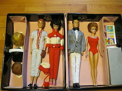 Vintage Barbie Lot 4 Dolls, Original Case & Accessories From 1960 -1963 Era