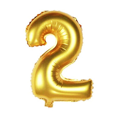 16 Inch Gold Arabic Number Foil Balloon Wedding Birthday Party Decor Number 2