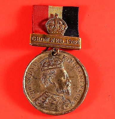 1902 King Edward VII Coronation Medallion With Ribbon (31 mm Diameter)
