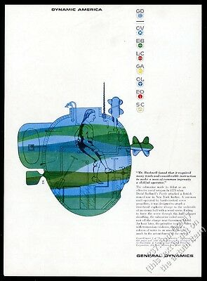 1958 Erik Nitsche Turtle submarine art General Dynamics vintage print ad