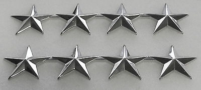"Police Chief/Deputy 4 stars 1""  SILVER pair Shoulder Pins Rank Insignia"