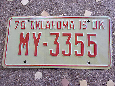 NOS Vintage Old License Plate Sign Oklahoma 1978 Red CarTag Man Cave MY-3355