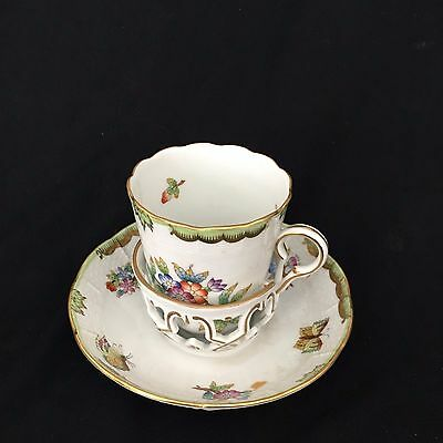 Herend Single Handled Queen Victoria Trembleuse Cup and Saucer Excellent