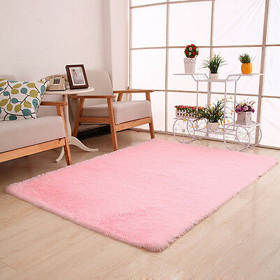 Fluffy Rugs Anti-Skid Shaggy Area Rug Dining Room Bedroom Carpet Floor Mat PK