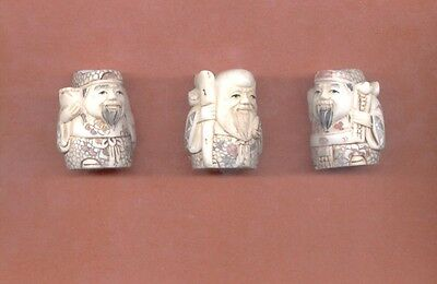 Three Fortune Gods Stunning Vintage Hand Carved  1.5 In  Netsuke Set Of 3 881