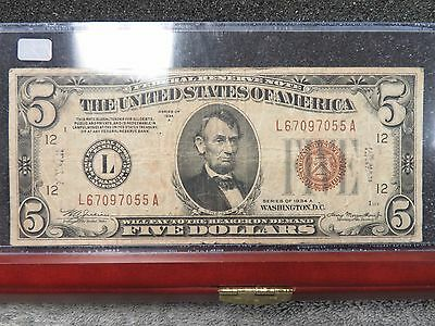 1934A $5 Brown Seal Hawaii Silver Certificate- Decent Specimen- Free Shipping!!