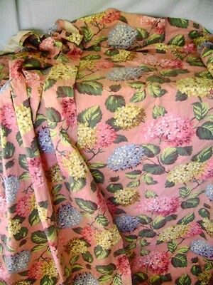 Two Panels 40S Heavy Cotton Drapes Huge Hydrangea Blossoms Pinks Blues Yellows