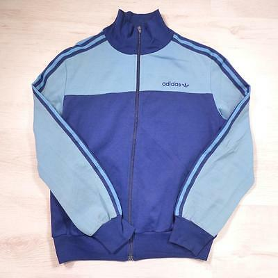 ADIDAS Vintage 1980's Blue Retro Polyester Tracksuit Top Jacket Large #E2165