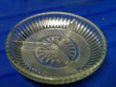 Patterned glass divided dish vintage clear
