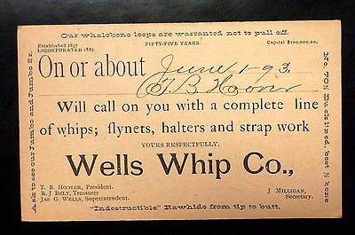 {BJSTAMPS}  Postal Card 1893 Advertising WELLS WHIP Co RAWHIDE from tip to butt