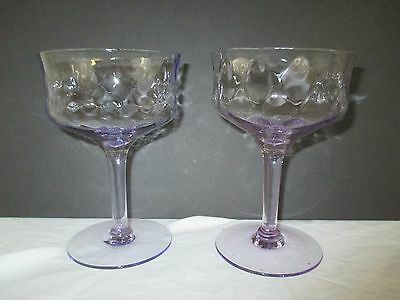 Morgantown Glass Alexandrite Sherbets Or Champagnes With Peacock Optic