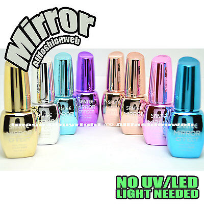 SANTEE 8 Pcs Color Mirror Effect Metallic No UV LED Nail Polish Bold Lacquer