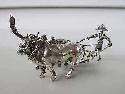 Sterling Silver Chinese Marked Figure Farmer Plowing w/ Two Water Buffalo Ox Cow