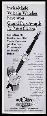 1969 Vulcain men's Kyle and Lady Centenary 2 watch photo vintage print ad