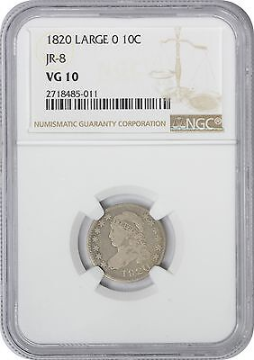 1820 Large 0 Bust Dime VG10 NGC Very Good 10