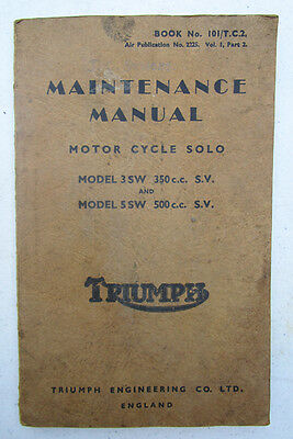 TRIUMPH 3SW 5SW MILITARY MOTORCYCLE MAINTENANCE MANUAL/BOOK 1940s SIDE VALVE