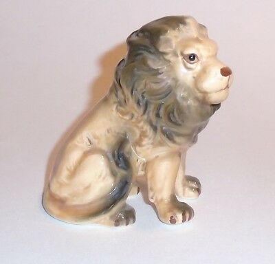 "3-1/2"" tall Bone China Lion Figurine with Hand Painted Decoration"