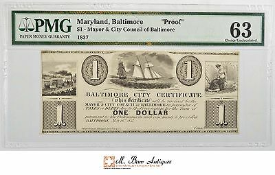 63 Choice Uncirculated 1800's $1.00 Baltimore, MD Currency - PMG Graded *0851