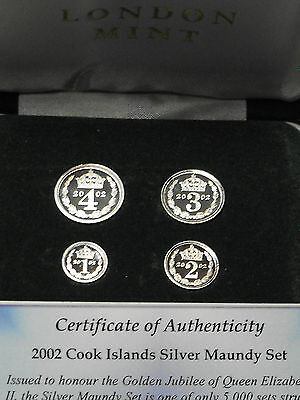 2002 Cook Islands Maundy Set .999 Silver Proofs Elzabeth II Case / 4 Coins / COA