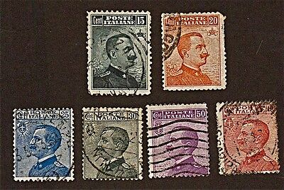 ITALY, 6 1906-1925 Kings and Effigies Stamps (92-111 Yrs Old)Used, Descr  FUS222