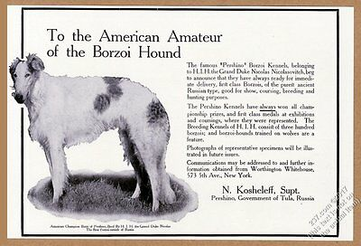1908 Borzoi Russian Wolfhound photo Russian kennel breeder vintage print ad