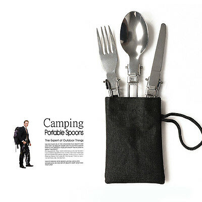 Portable Outdoor Camping Tableware set Stainless Steel Folding Fork Spoon Knife