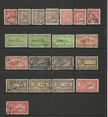 India Feudatory State Of Travancore ~ 1939-1951 Small Collection