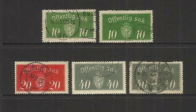 Norway Norge ~ 1933-37 Official Service Stamps (Part Set) Used